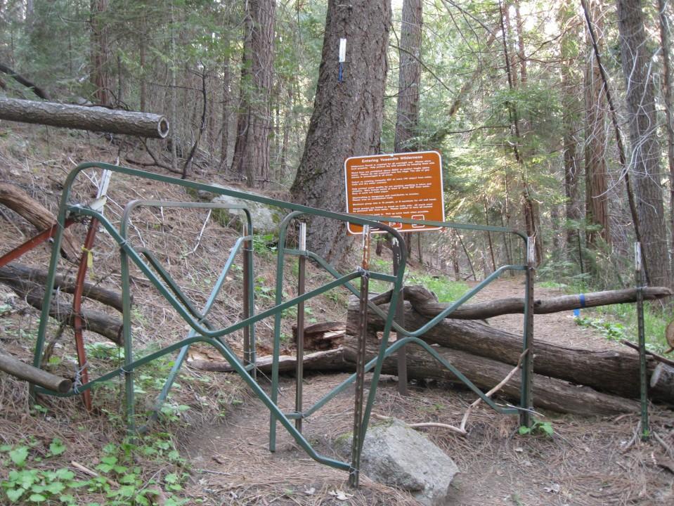 The metal maze you walk through when entering Yosemite National Park.
