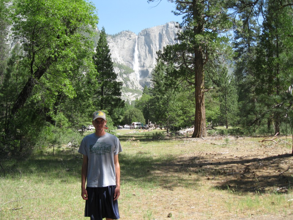 Yosemite Falls in the background.