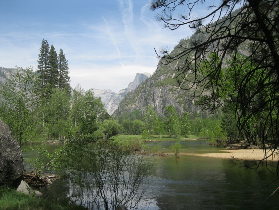 Looking back one last time at the Merced River, and Half Dome in the distance.