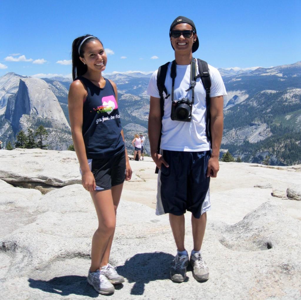 Niece Jasmine and nephew Anthony (Half Dome on the left).