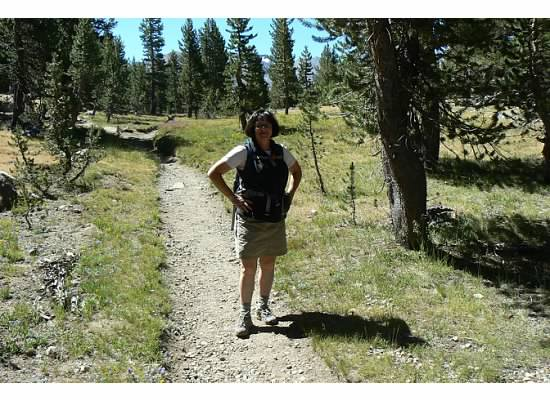 Janet just heading out on the trail.