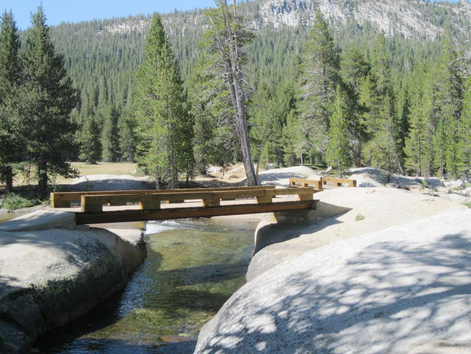 Twin bridges over the Lyell Fork of the Tuolumne River.