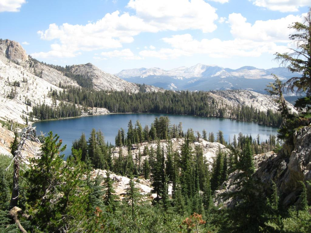 Looking down at May Lake from the trail.