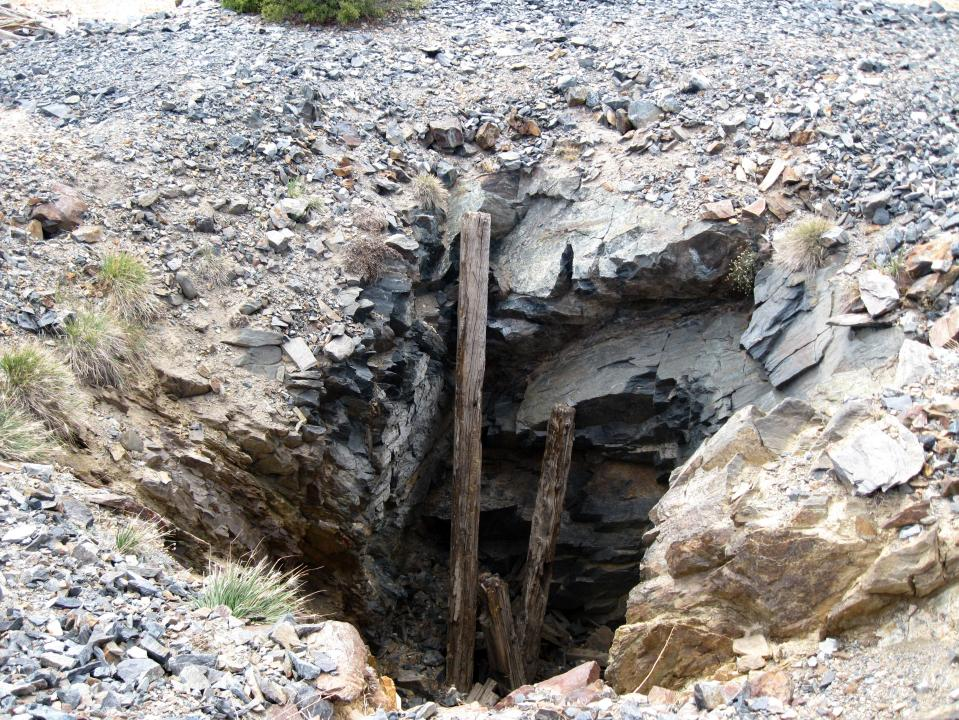 A mine shaft.