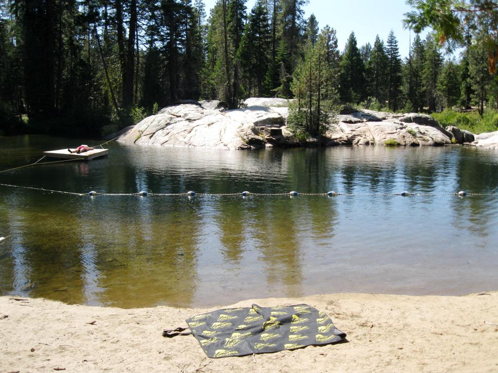 Bend Camp is located inside the Boy Scout camp.  Chris sunned himself on the wooden float.