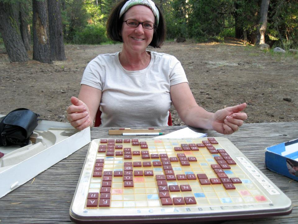 The Scrabble board has been on many trips with us.