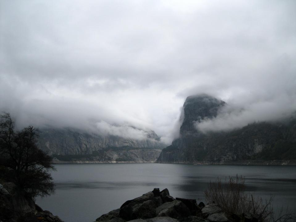 Hetch Hetchy Reservoir and Kolana Rock on the right.
