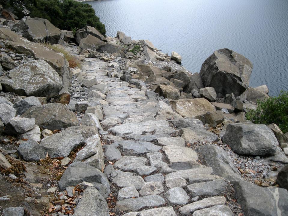 Granite steps leading down towards Wapama Falls.