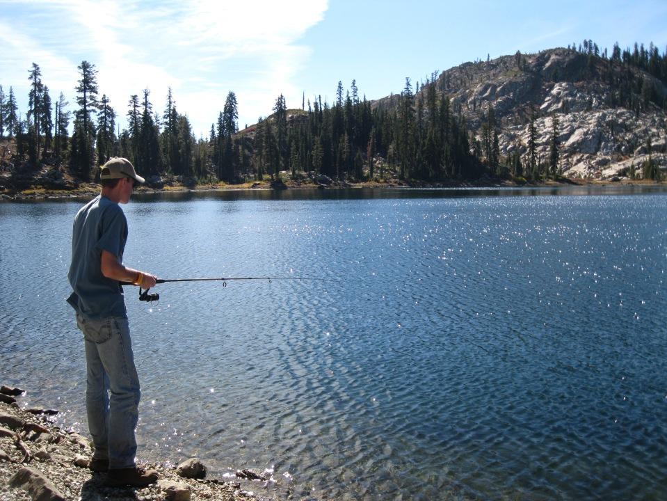 Fishing, a favorite pasttime when near a lake.