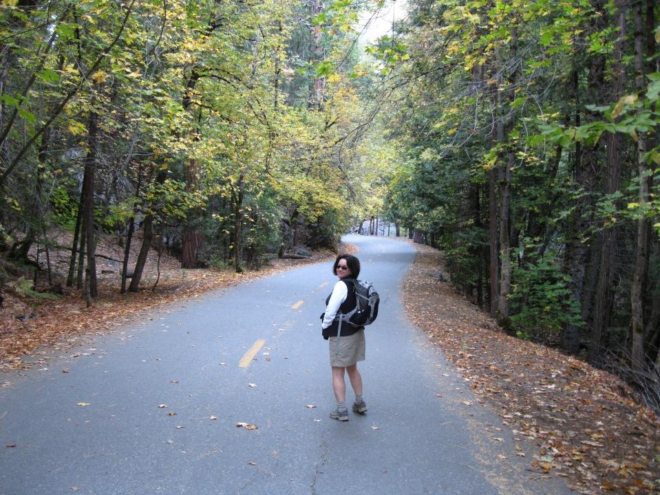 Walking on the bike path/service road.
