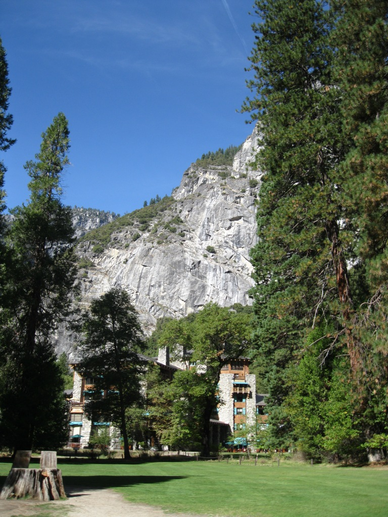 Approaching the back of the Ahwahnee Hotel.