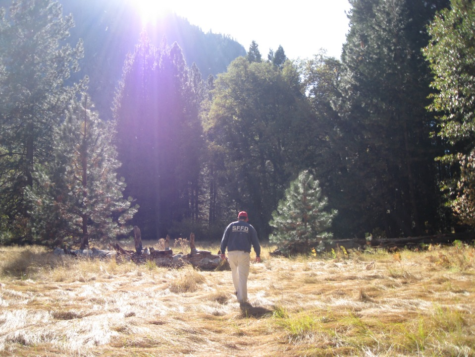 Walking through Ahwahnee Meadow.