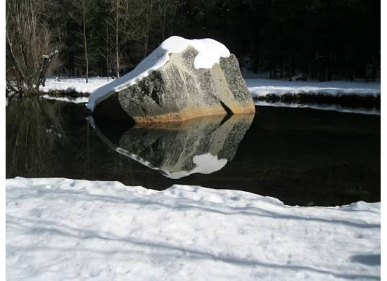 Winter at Mirror Lake, January 11, 2011.  The water reflects the surrounding rocks and even Half Dome from certain areas.