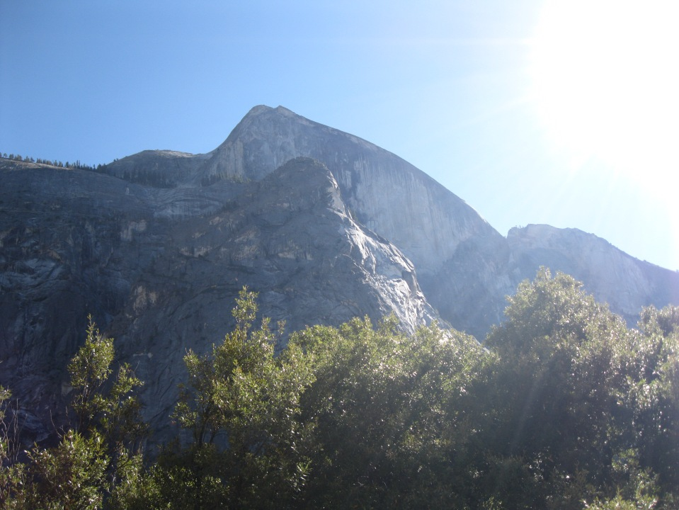 Another angle of Half Dome (background) from the trail.  Ahwiyah Point in the foreground.