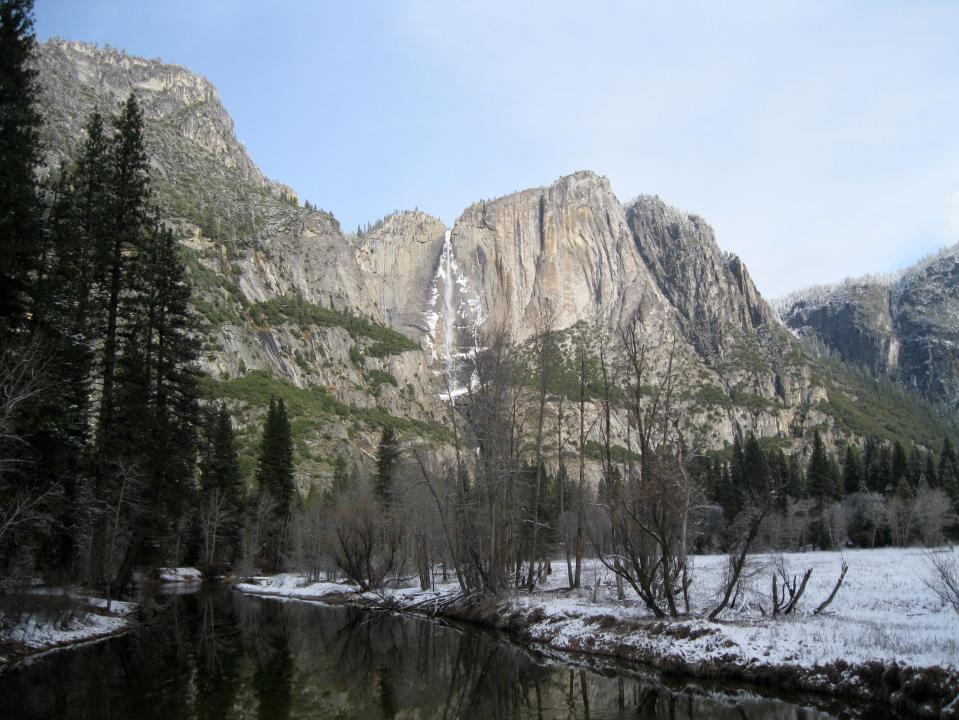 Viewing Yosemite Falls from Swinging Bridge.