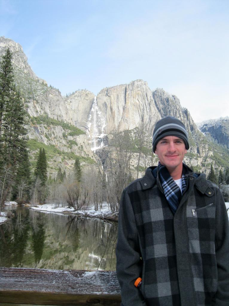 Andrew with Yosemite Falls in the background.