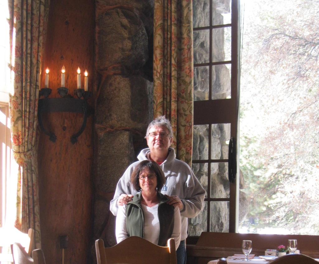 In the legendary Ahwahnee Hotel dining room.