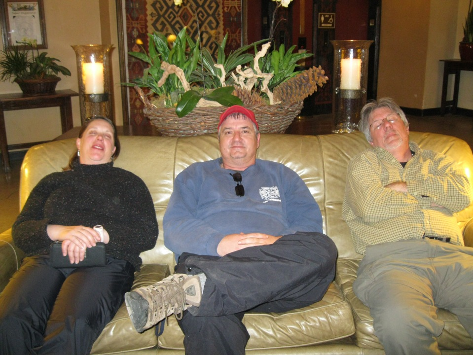 Maria, Chris, Andy.  Enjoying the hotel amenities.