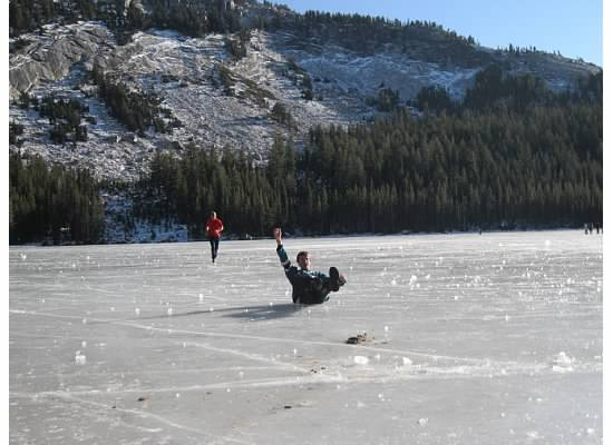 Andrew on the frozen Tenaya Lake, December 2011.