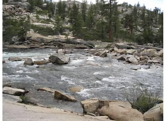 Water over rocks.