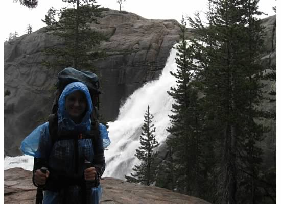 Julia at White Cascade on the way in.