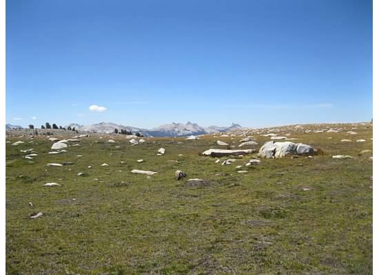 Lying on the grass in Gaylor Lakes Basin surrounded by the boulder-strewn meadow.