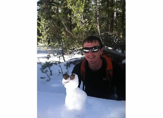 Found a mini snowman on the trail and gave him a face.