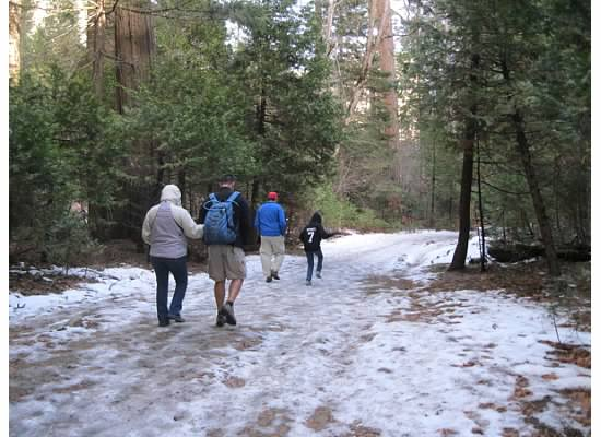 Heading out to Mirror Lake on the icy trail.