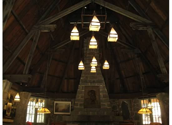 Looking up at the original roof inside the LeConte Memorial Lodge.