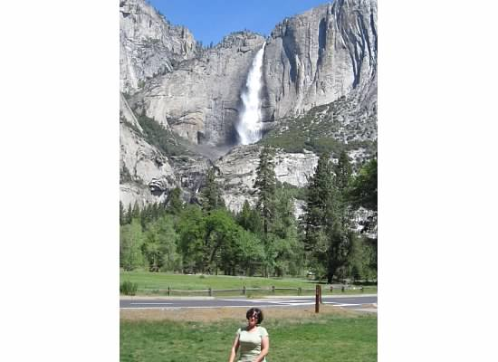 Yosemite Falls from the chapel's lawn.