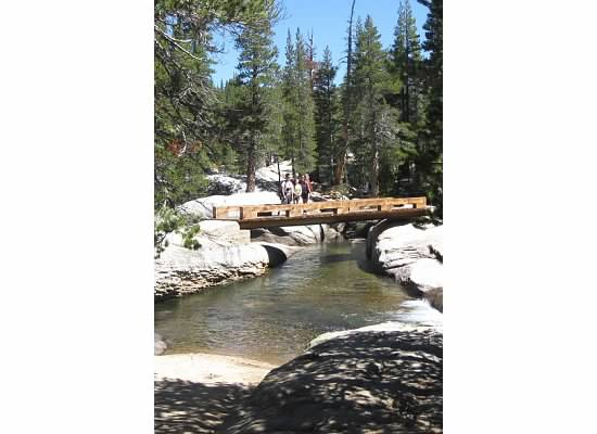 One of the two bridges over the Lyell Fork of the Tuolumne River.