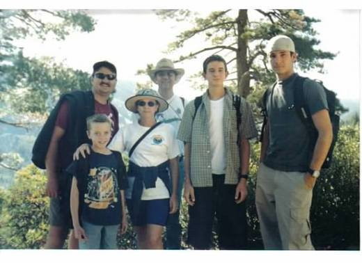 Heading to Volcano Lake: Andrew (in front), Chris, Janet, Andy, Michael, and Joseph. September 1, 2001