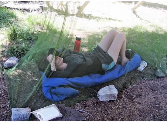 Unless you are fond of mosquitoes, June is not the time to camp by a lake.  Julia, relaxing in the safety of the mosquito net.
