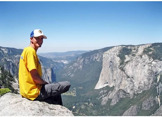Andrew facing El Capitan, a giant granite monolith.