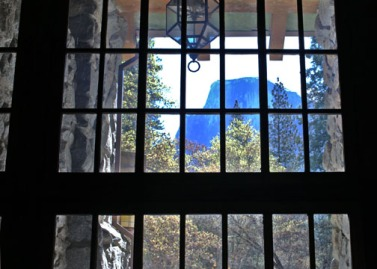 Looking out the Great Lounge window at Half Dome.