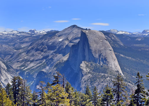 Half Dome and Yosemite's granite mountains.
